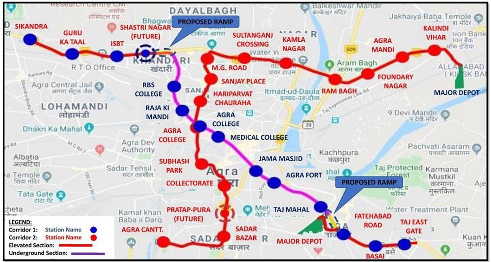 Agra Metro Route and Stations