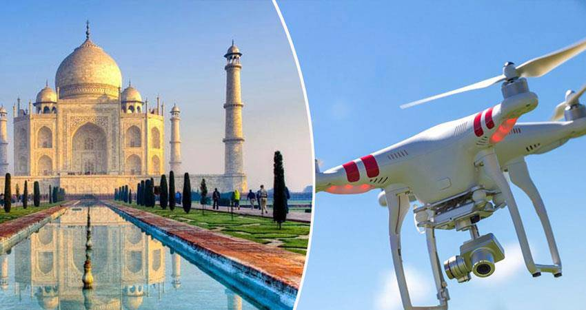 Taj Mahal Drone Flying